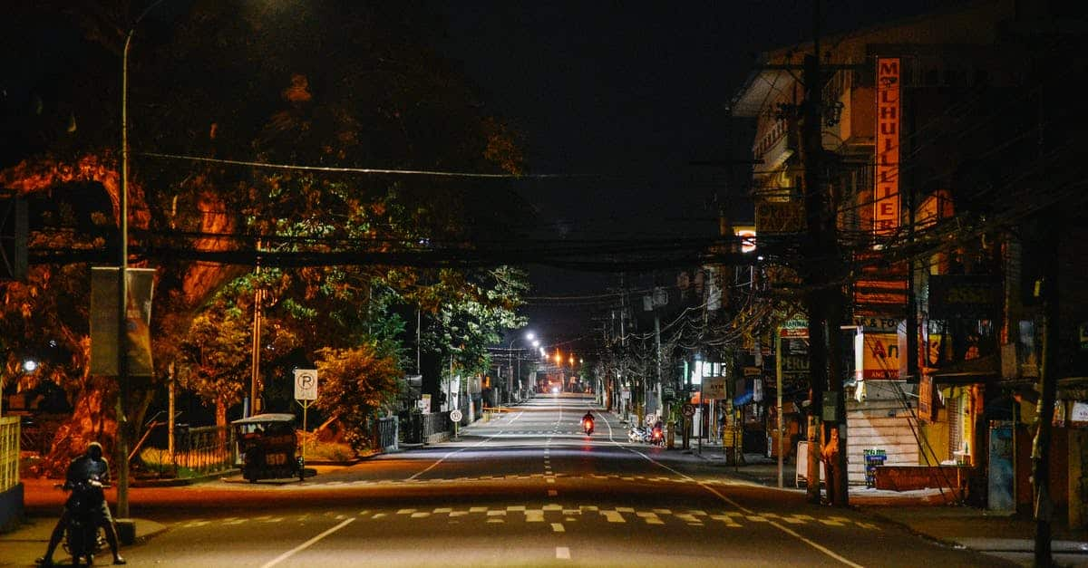 A city street at night